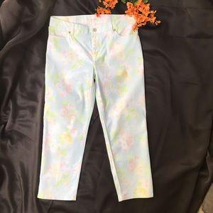 J. Jill Pastel Floral Crop Jeans